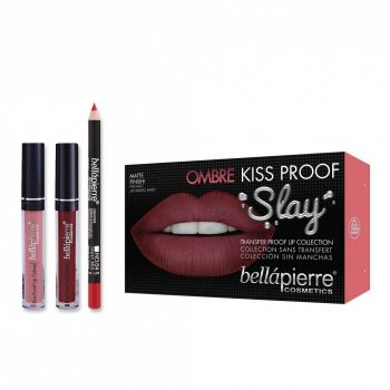 Set Rezistent la Transfer pentru Buze, Bellapierre Kiss Proof Slay, Ombre, Transfer Lip Collection, 40 s Red