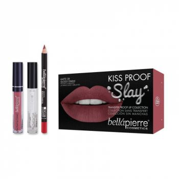 Set Rezistent la Transfer pentru Buze, Bellapierre Kiss Proof Slay, Transfer Lip Collection, Antique Pink