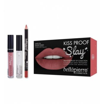 Set Rezistent la Transfer pentru Buze, Bellapierre Kiss Proof Slay, Transfer Lip Collection, Nude