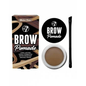 Kit cu Gel pentru Sprancene si Pensula dubla W7 Brow Pomade Medium Brown 4.25 g