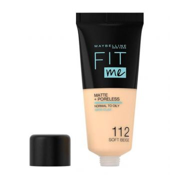 Fond de ten MAYBELLINE FIT ME Matte Poreless 112 Soft Beige, 30 ml