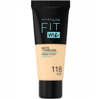 Fond de ten MAYBELLINE FIT ME Matte Poreless 118 Nude, 30 ml