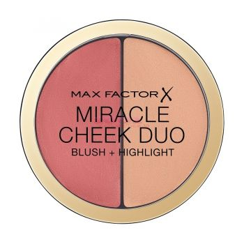 MAX FACTOR MIRACLE CHEEK DUO BLUSH + HIGHLIGHT BROWN PEACH & CHAMPAGNE 20